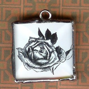 Glass Charm Black and white Rose