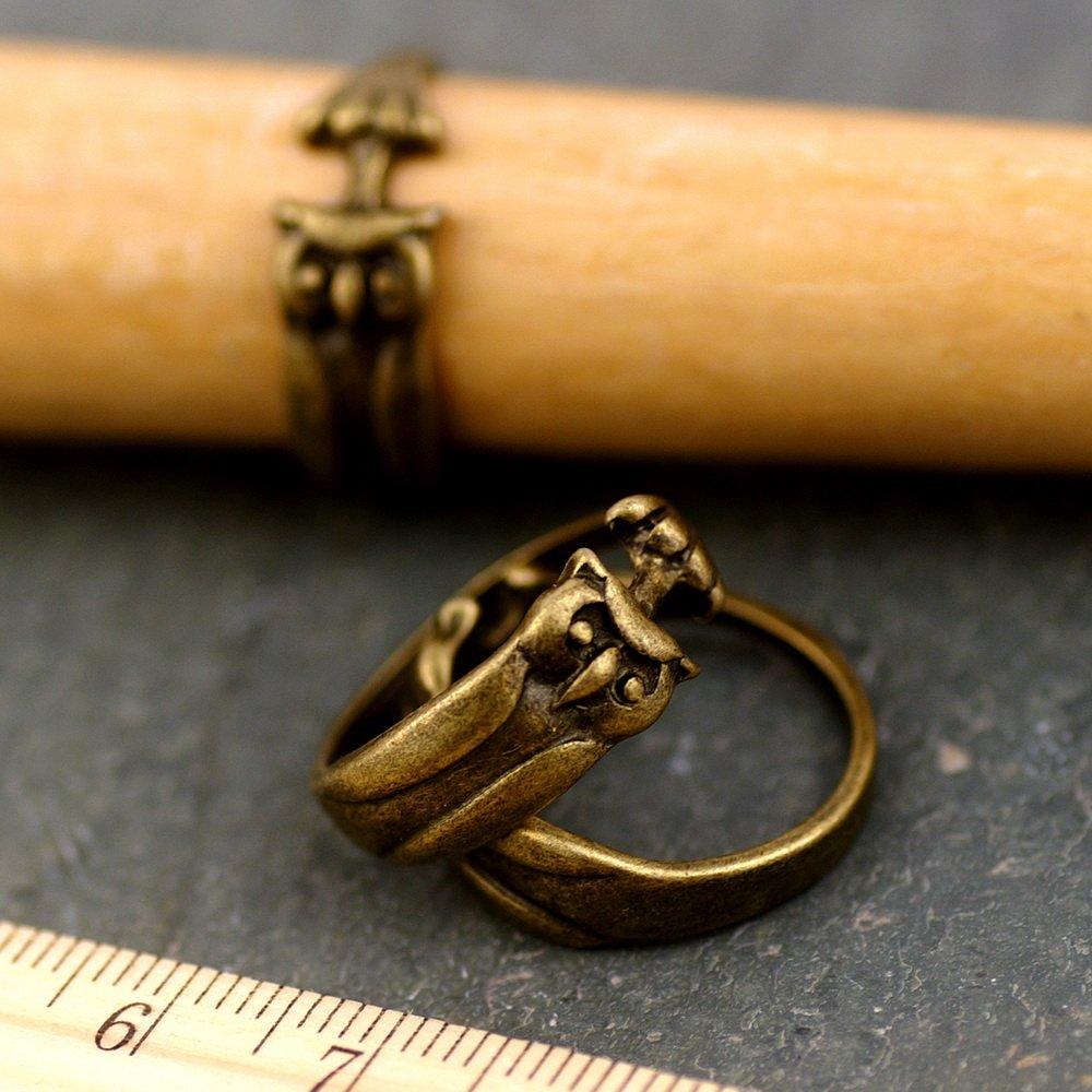Cute Owl Vintaged Bronze Bird Ring Accessorize d02