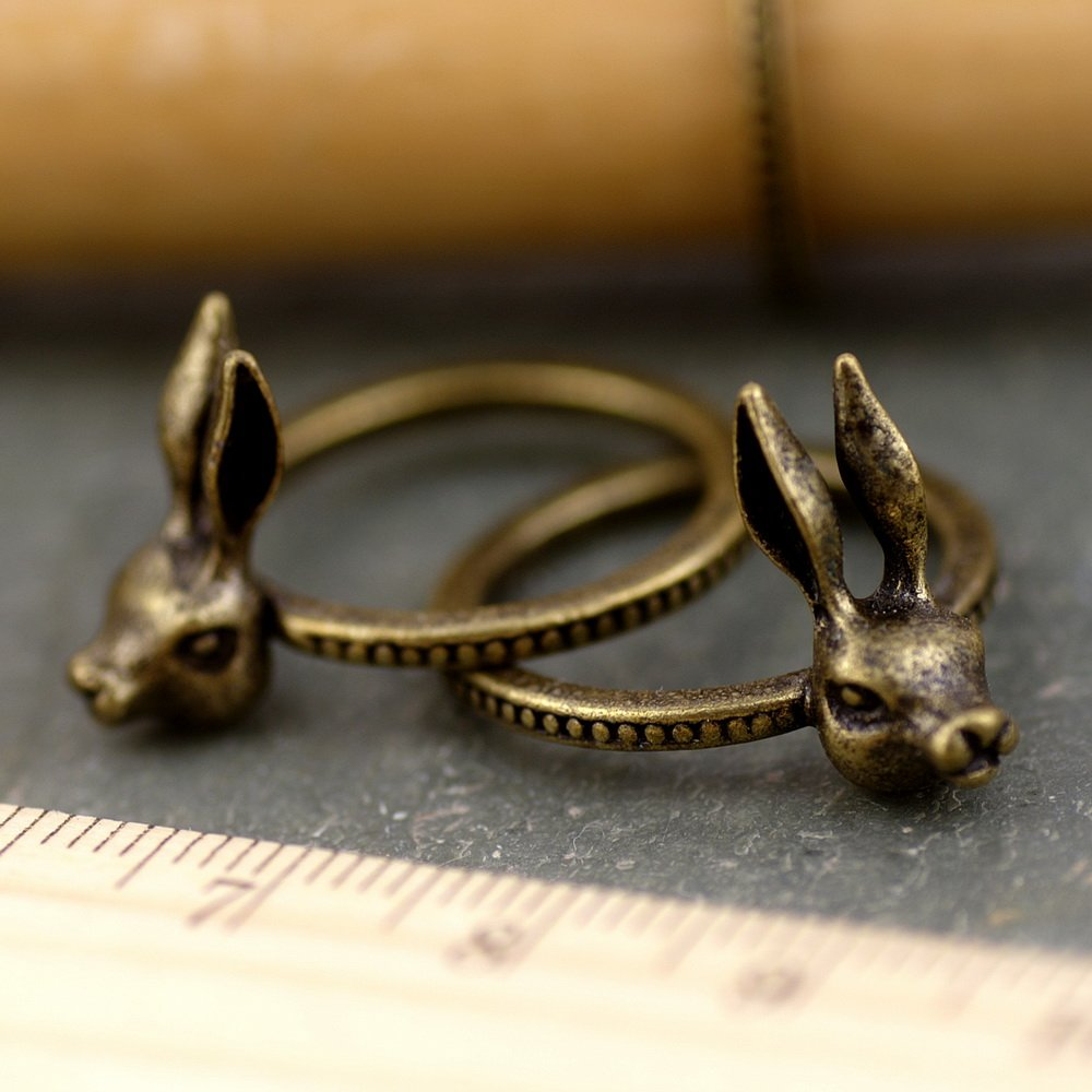Cute Rabbit Vintaged Bronze Bunny Ring Accessorize d05