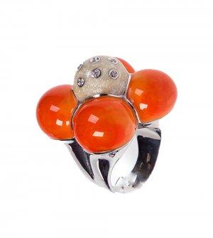 Flower ring, Orange, silver, enamel, gold and diamonds