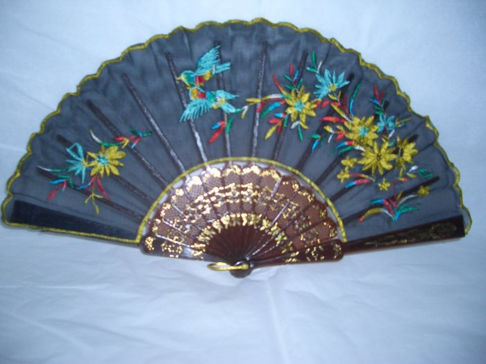 Chinese Twin Bird ( Turquoise color ) Hand Fan Embroidery.