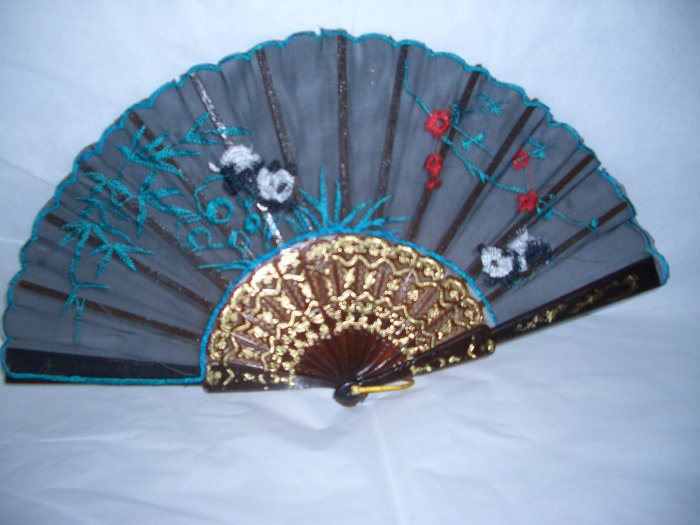 Chinese Panda (Blue)  Hand Fan Embroidery.