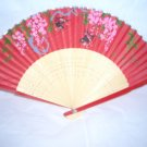 Chinese Paper Hand Fan ~ Red with 2 Birds