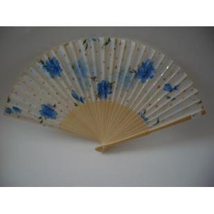 BLUE FLOWERS SILK FAN ~~ VERY BEAUTIFUL ~~