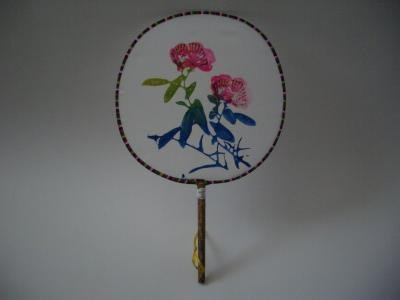 SILK PADDLE FANS - FLORAL SCENE