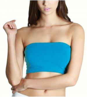 Turquoise Strapless Sports Bra Bandeau Tube Top new