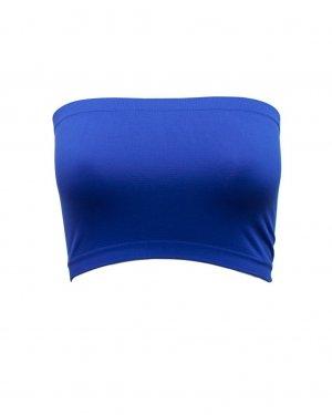 Women's Royal Blue Strapless Sports Bra Bandeau Tube Top new No Padding