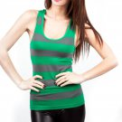 Women's Striped Green Tank Top Seamless New Small/Medium