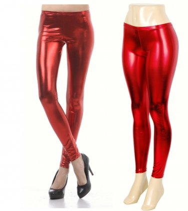Red Small Shiny New Liquid Leggings Stretch Wet Vinyl Glossy Spandex