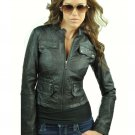 Women's Black Zip Up Motorcycle Jacket Medium