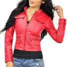 Women's Red Zip Up Faux Leather Motorcycle Jacket Small
