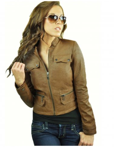 Women's Brown Zip Up Motorcycle Faux Leather Jacket Large