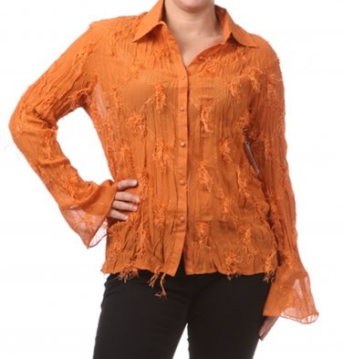 Women's Orange Plus Size Blouse size 3XL