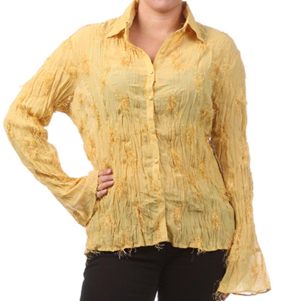Yellow Blouses Plus Size 41