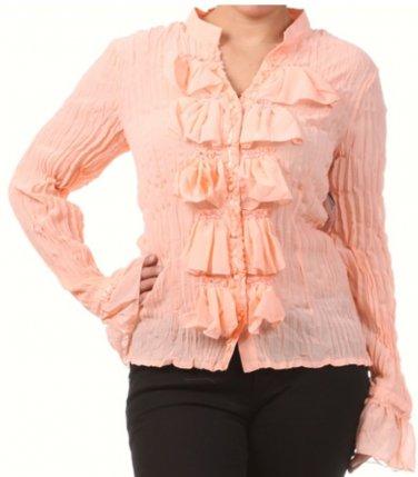 Women's Pink Plus Size Ruffled Slimming Blouse size 1XL