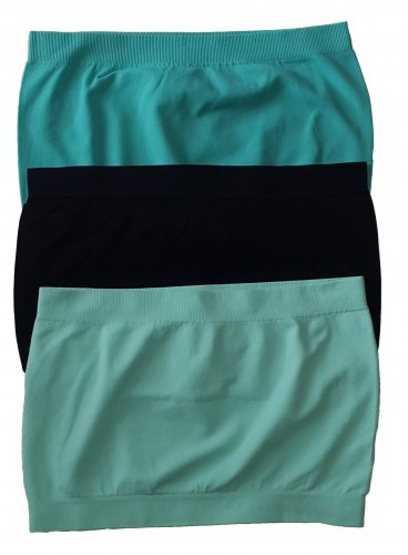 3 Pack Seamless Bandeau Top Nylon Spandex Blue Marine/Black/Aqua