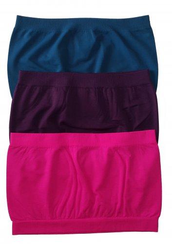 3 Pack Seamless Bandeau Top Nylon Spandex Teal/Purple/Neon Fuchsia