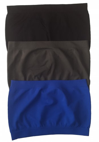 3 Pack Seamless Bandeau Top Nylon Spandex Black/Charcoal/Blue