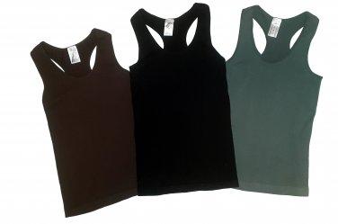 Pack of 3 Tank Tops Ribbed Racerback Nylon Spandex Black/Charcoal/Brown