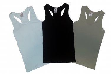 Pack of 3 Tank Tops Ribbed Racerback Nylon Spandex Black/White/Beige