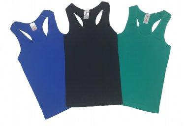 Pack of 3 Tank Tops Ribbed Racerback Nylon Spandex Black/Green/Blue