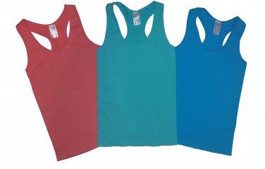 Pack of 3 Tank Tops Ribbed Racerback Nylon Spandex Blue Marine/Fuchsia/Turquoise