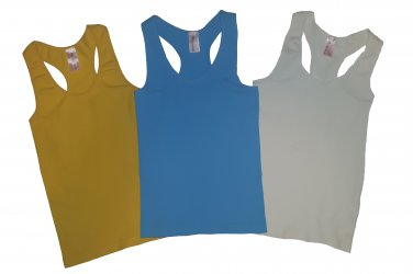 Pack of 3 Tank Tops Ribbed Racerback Nylon Spandex Turquoise/Yellow/Ivory
