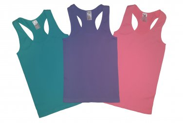 Pack of 3 Tank Tops Ribbed Racerback Nylon Spandex Pink/Blue Marine/Lavender