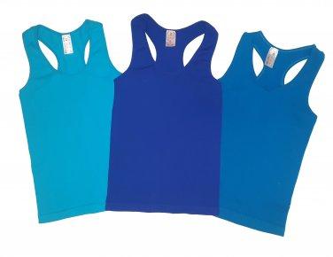 Pack of 3 Tank Tops Ribbed Racerback Nylon Spandex Royal Blue/Aqua/Turquoise
