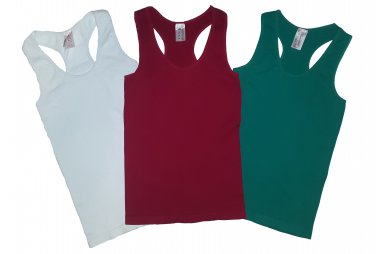 Pack of 3 Tank Tops Ribbed Racerback Nylon Spandex Red/White/Green