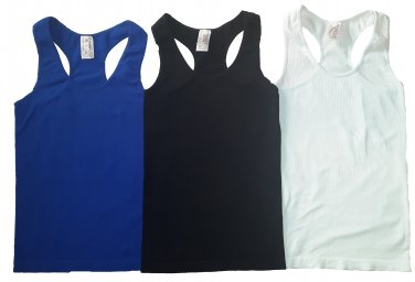 Pack of 3 Tank Tops Ribbed Racerback Nylon Spandex Black/Cobalt/White