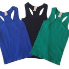 Pack of 3 Tank Tops Ribbed Racerback Nylon Spandex Black/Blue/Green