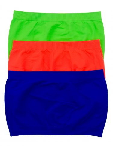 3 Pack Seamless Bandeau Top Nylon Spandex Neon Green/Royal/Neon Orange