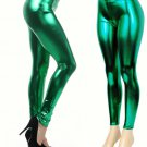 Women's Green Shiny Liquid Leggings  Wet Vinyl Glossy Spandex New Medium
