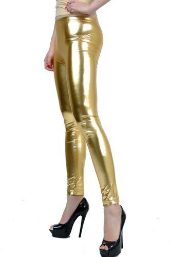 Shiny New Liquid Leggings Stretch Wet Vinyl Glossy Spandex Gold Small