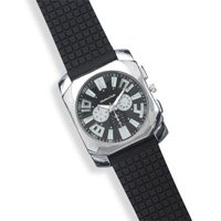 Men's Fashion Watch with Textured Black Rubber Band
