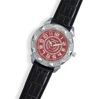 Black Leather Men's Fashion Watch with Red Face and clear Crystals