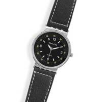 Black Leather with White Stitch Fashion Watch
