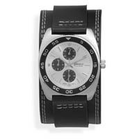 "6.5""-8.5"" Black Leather Band with Round Face Men's Fashion Watch"
