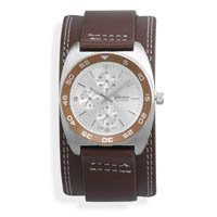 "6.5""-8.5"" Brown Leather Band with Round Face Men's Fashion Watch"