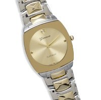 Men's Two Tone Fashion Watch with Gold Tone Face