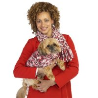 (sz SM)Red/WHT - Matching Dog Sweater and Owner Scarf Set