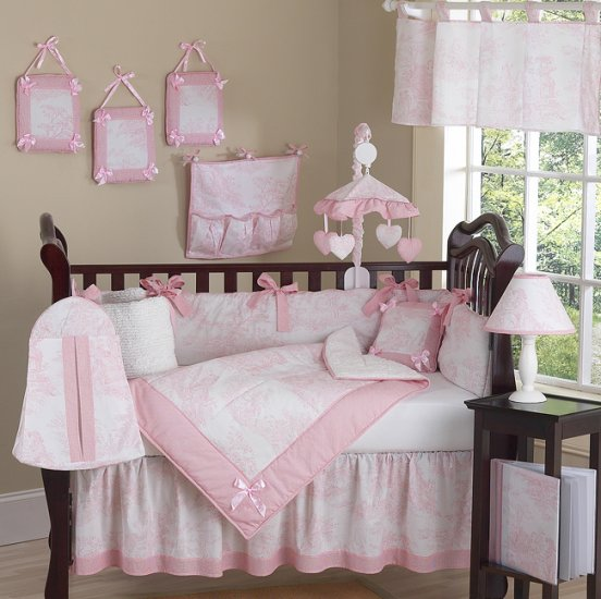 DESIGNER BOUTIQUE PINK TOILE BABY CRIB BEDDING 9PC SET