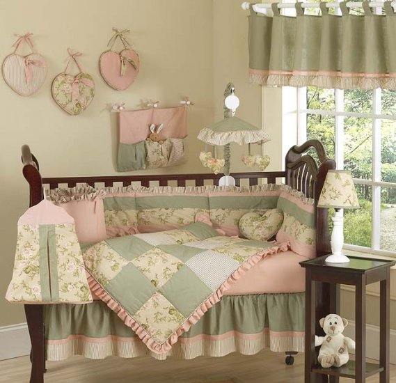 DESIGNER BABY GIRL DISCOUNT CRIB BEDDING 9p NURSERY SET