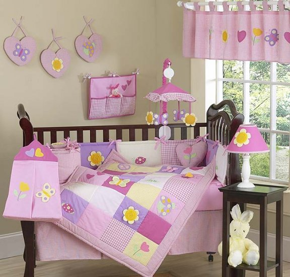 NEW PINK GARDEN BABY CRIB BEDDING 9p INFANT NURSERY SET