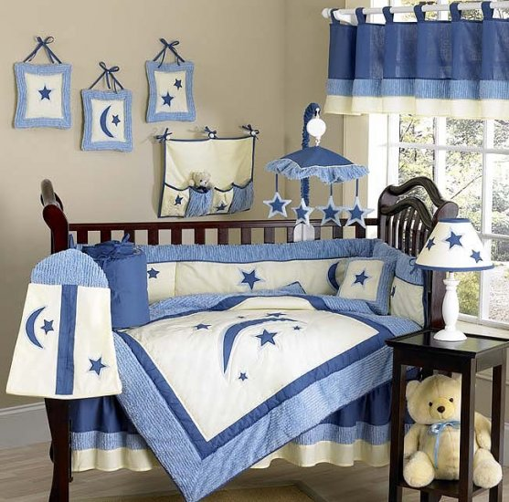 NEW MOON and STARS INFANT BABY BOY BEDDING 9p CRIB SET