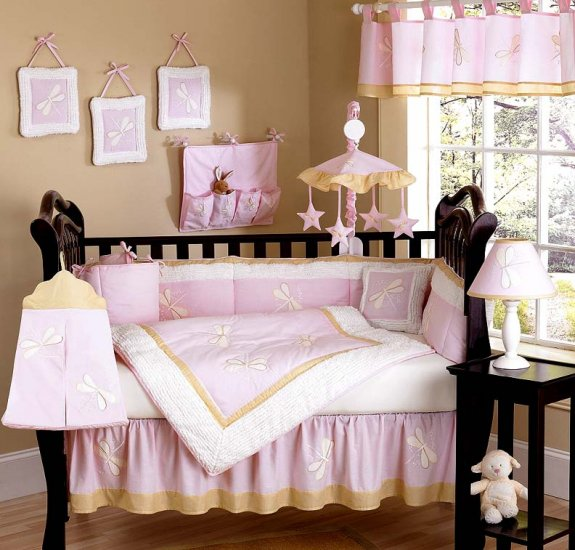 DESIGNER DISCOUNT DRAGONFLY BABY CRIB BEDDING 9 PC SET