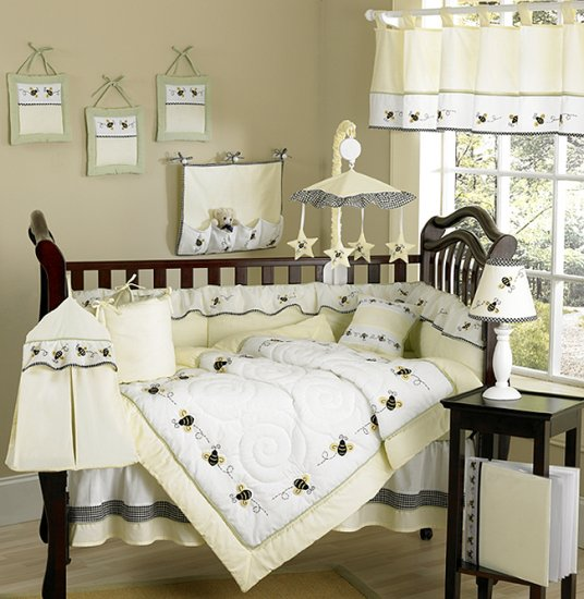 UNIQUE BUMBLE BEE DESIGNER BABY BEDDING 9 pc CRIB SET