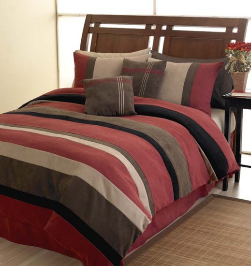 BRIC MICROSUEDE QUEEN DUVET COMFORTER COVER BEDDING SET