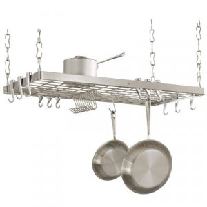 DESIGNER STAINLESS STEEL RECT. HANGING POT RACK RACKS